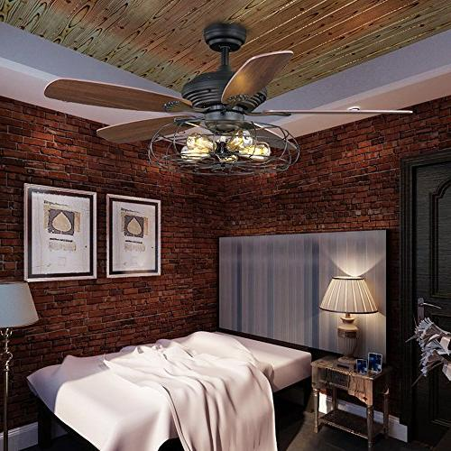 Industrial Fan LITFAD Retro Ceiling Light Chandelier Pendant in in Style through Remote control,UL Listed