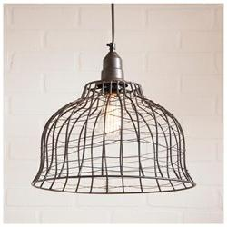 Industrial Wire Cage Pendant in Smokey Black