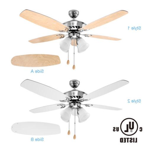 52 Inch Ceiling Fan with 5 Reversible Blades and 4 Light Fix