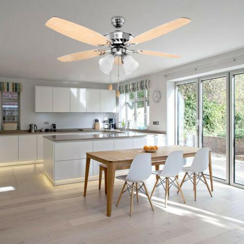 52 inch Ceiling with Five White Wooden Blades and Fixture Indoor