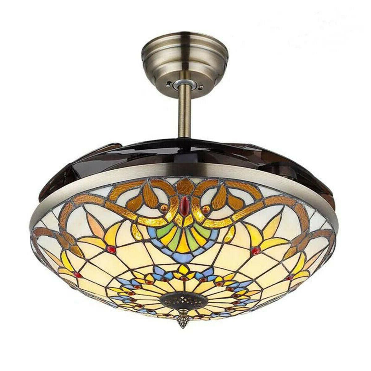 LED Fan Chandelier Lamp Tiffany Baroque Style