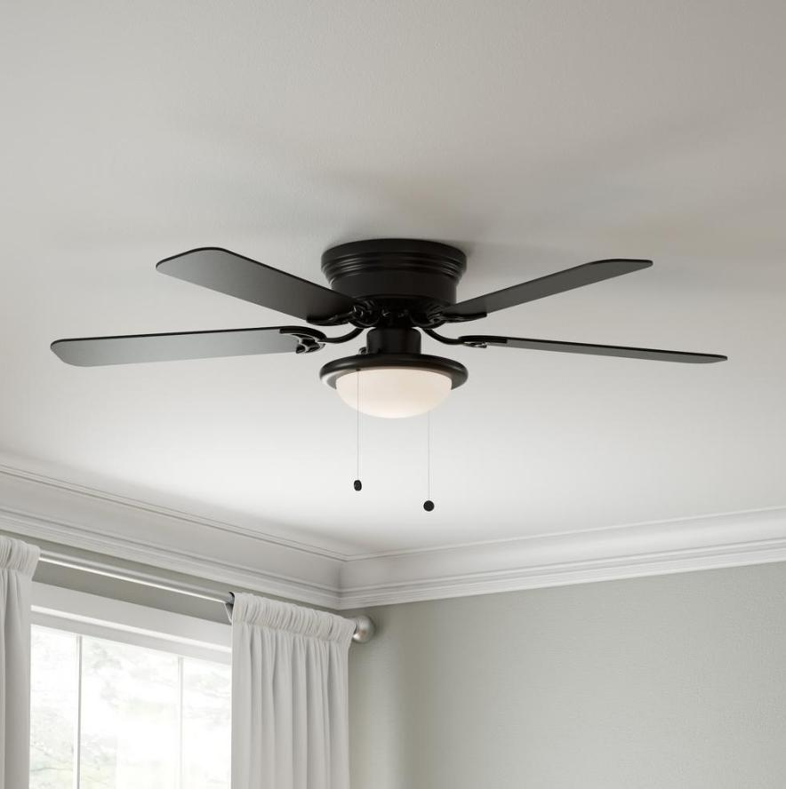 "Hampton Bay LED Ceiling Fan With Lights 52"" Low Profile Flus"