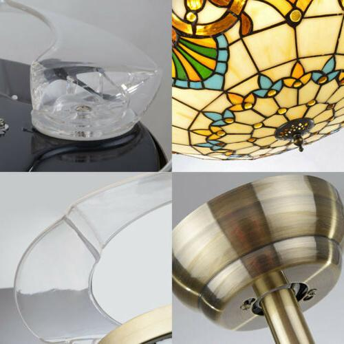 LED Ceiling Fan Chandelier Lamp Retractable Blade Tiffany