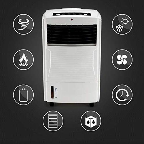 FAN Portable Evaporative Air Cooler Functions, 3 Speeds Oscillation, 7.5 Hour and Water Tank, Litre, White