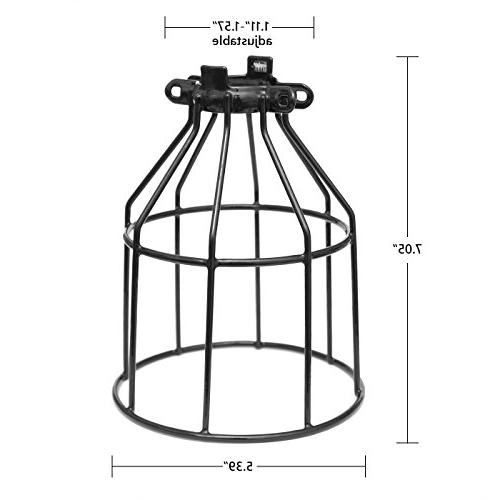 Supmart Guard, Clamp Cage for Hanging Pendant Lights and Holders,Open Wire Iron Bird Cage,4-Pack