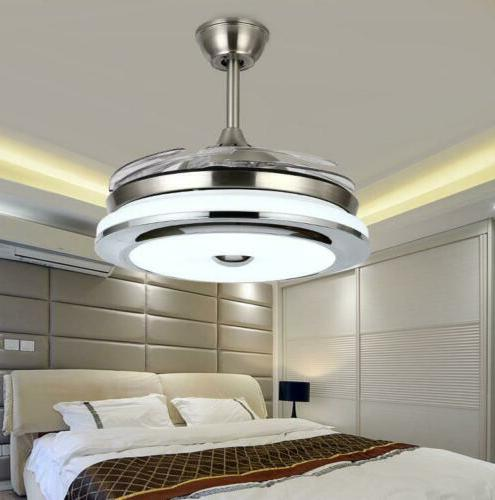 """Modern 36"""" Invisible Ceiling Fans with 3-Color LED Light"""