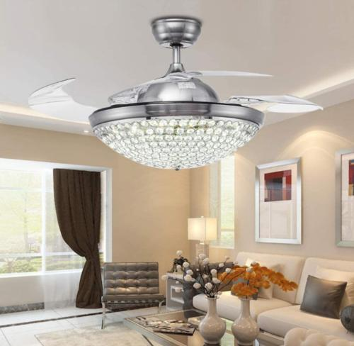 modern 42 led crystal invisible ceiling fan