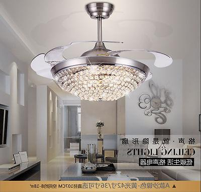 "42"" Ceiling Fan with Lights Modern Crystal Chandelier Fan w/"