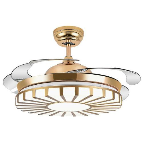 Modern Gold Invisible Ceiling Fan Light Home Chandelier Pend