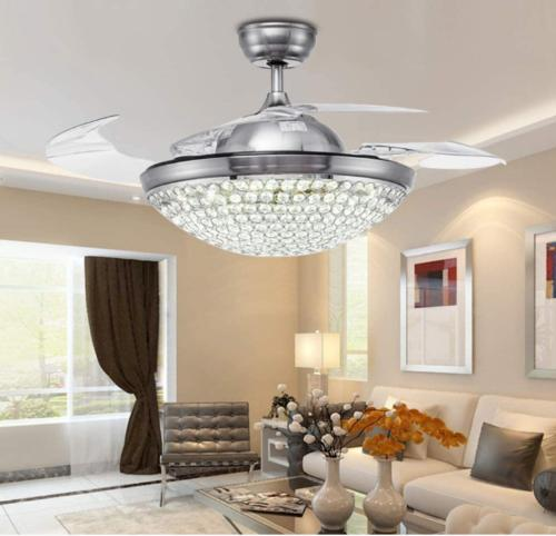 """42"""" Invisible Ceiling Fan Light Modern Crystal"""