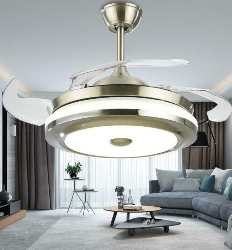 "Modern Invisible Fan Light LED Chandelier Fixture 42""/36"" remote"