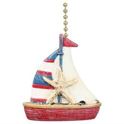 Nautical Coastal Red and Blue Sailboat Ceiling Fan Light Pul