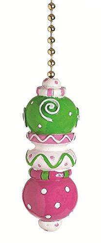 Pink and Green Stacked Ball w/ Dots and Swirls Ceiling Fan P