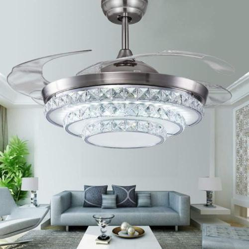 Crystal Invisible Ceiling Fan Light LED Chandelier Silver Fa