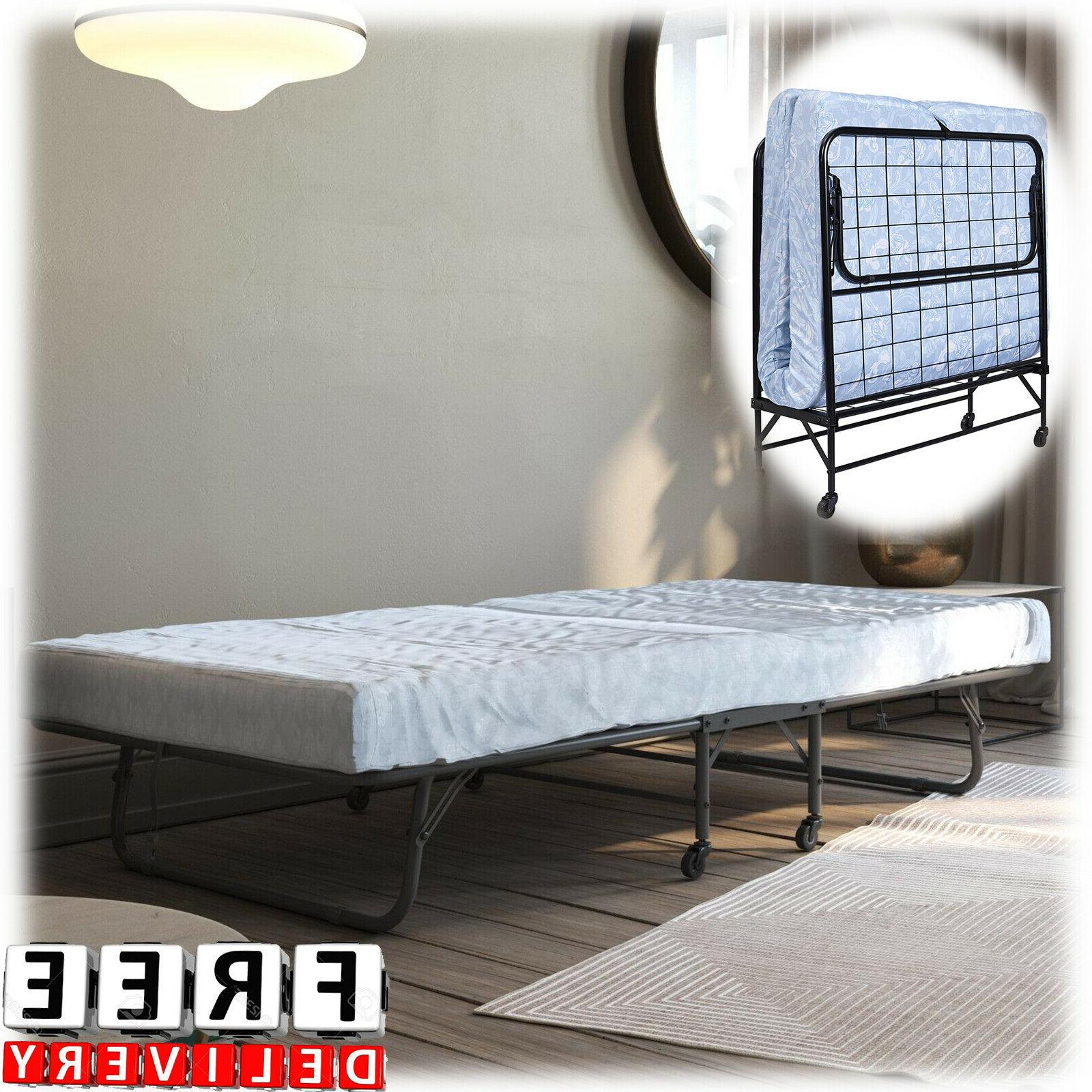 Rollaway Bed With Mattress Twin Size Folding Metal Frame Gue