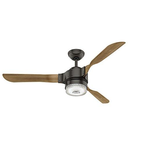 "Hunter 54"" Large Room Ceiling Fan LED Light Kit Remote Wi-Fi"