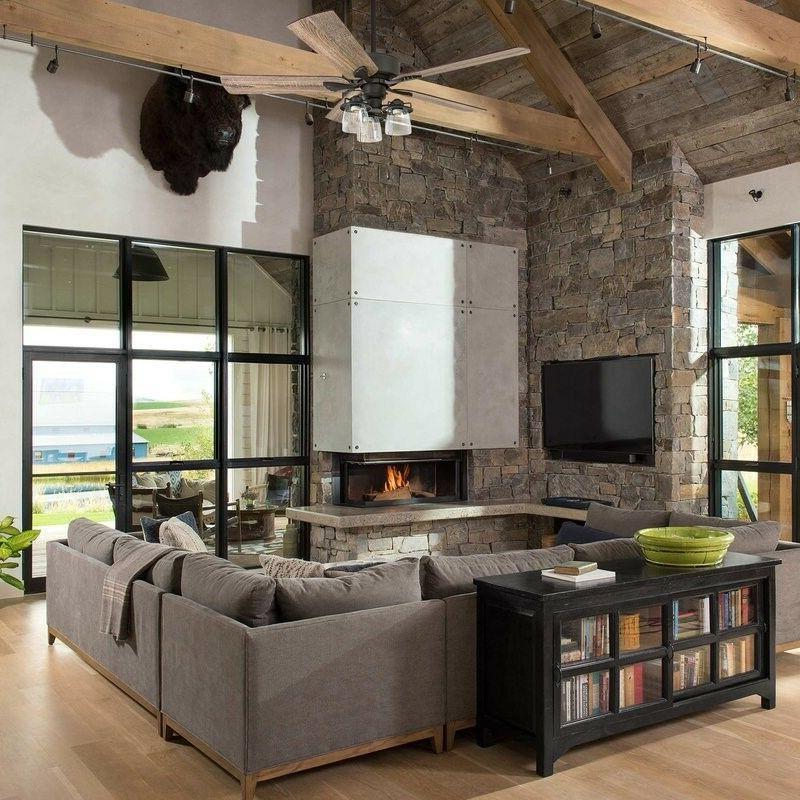 Rustic Farmhouse Style Fan Light Fixture With Remote