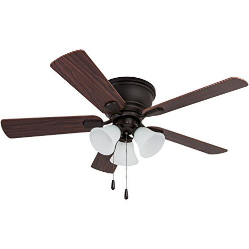 Prominence Home Ridge Low-Profile Hugger Ceiling Fan with White 46 inches, Flush Chocolate Maple/Walnut Blades, Classic