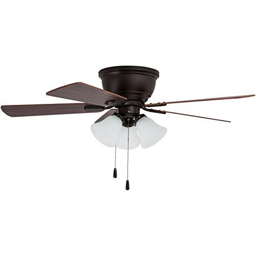 Prominence Home Saddle Ridge Low-Profile Ceiling Fan with 3-Frosted White 46 Flush Mount, Chocolate Blades, Bronze