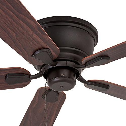 Prominence Home 80033-01 Ridge Low-Profile Fan White Flush Chocolate Blades,