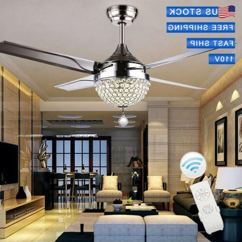 """Best Deal!44"""" Stainless Steel LED Crystal Ceiling fan Lamp"""