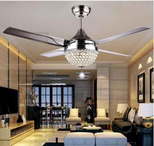 Crystal Ceiling Fan Light LED Pendant Lamp Remote Control  S