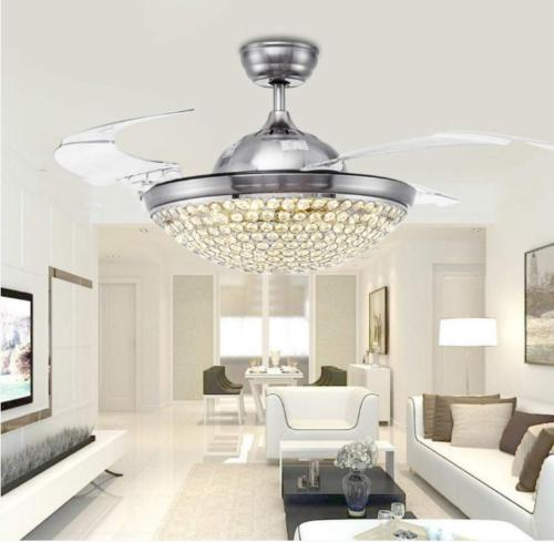 """42"""" Control Invisible Modern Crystal Chandelier"""
