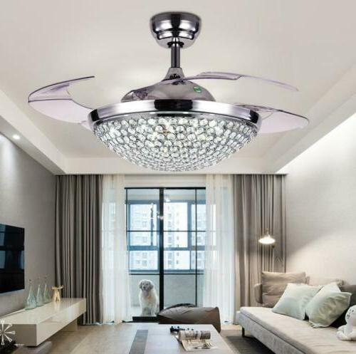 """42"""" Silver/Gold Remote Retractable Ceiling Fans Crystal LED"""
