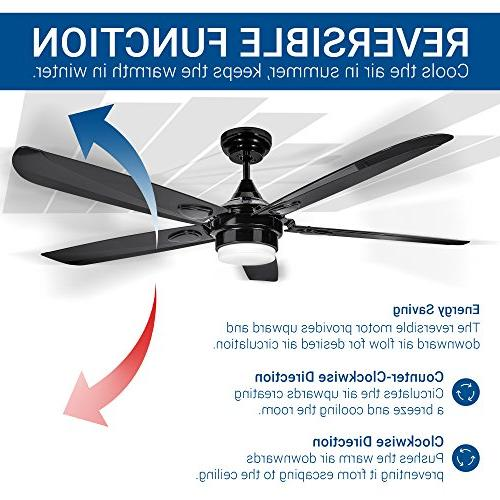 Hyperikon 56-Inch Sleek Contemporary Ceiling Fan, 5-Blade LED Ceiling Black Industrial with LED Panel, Remote 4000K