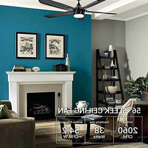 Hyperikon 56-Inch Sleek Contemporary Ceiling Fan, Ceiling Industrial Modern with Integrated Panel, 4000K