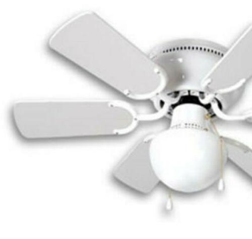 Small Room Ceiling Fan White with Light 6 Flush Mount Ceiling
