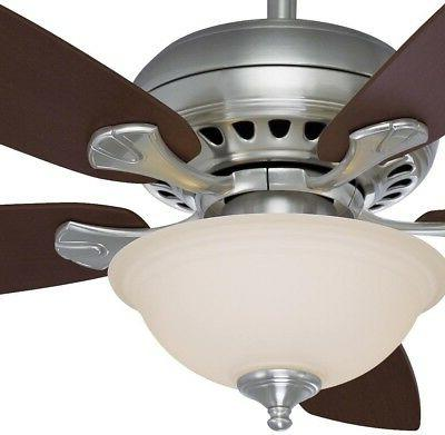 in. LED Indoor Brushed Nickel Smart Ceiling Fan with