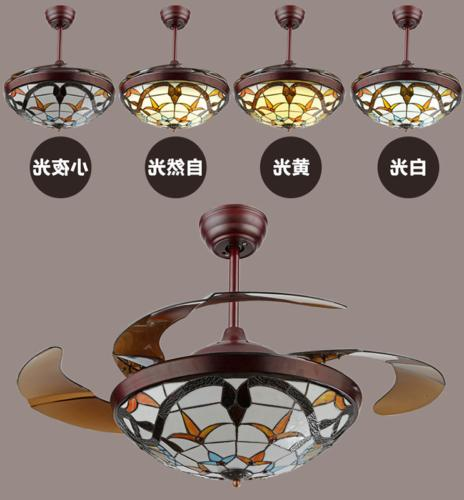 """Tiffany 42"""" Ceiling Lamp LED Retractable Blades"""