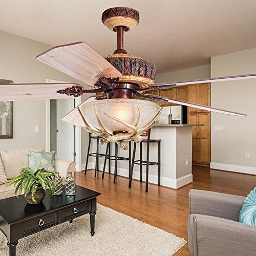 Tropicalfan Rustic Ceiling Fan With Indoor Decoration Room Fans Chandelier 5 Wood Blades Inch