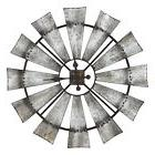 Wall Clock Farm Windmill Rustic Style 12 Galvanized Metal Bl