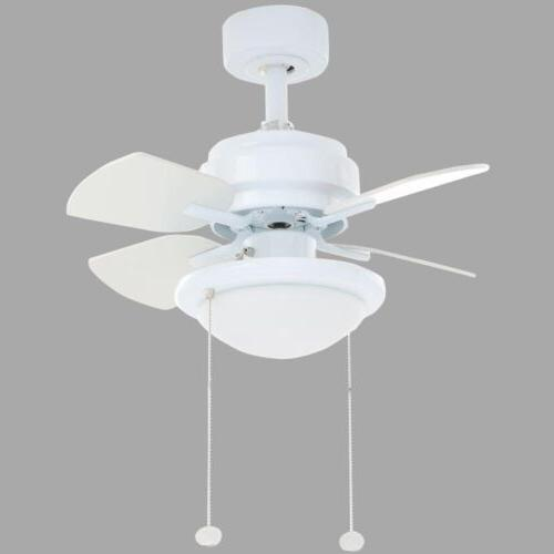Hampton Bay 24 inch Small White Ceiling Fan with Light 3-Spe