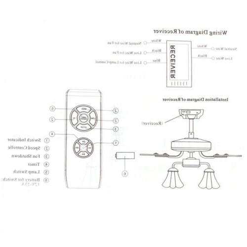 Wireless Timing Remote Control Receiver Universal Fan Lamp Kit