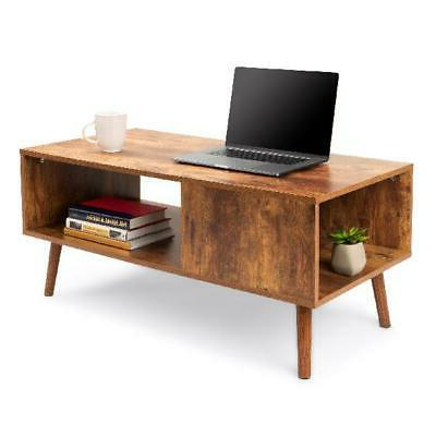 Wooden Modern Coffee Accent Table, Storage