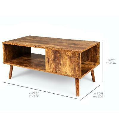 Wooden Mid-Century Modern Coffee Table, Storage