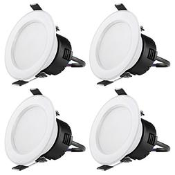 LE Pack of 4 Units 4W 3-Inch LED Recessed Lighting, 30W Halo