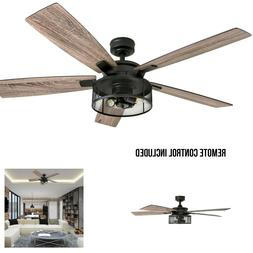 Rustic Contemporary 52 Inch Industrial Ceiling Fan Led Drum