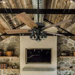 Rustic Contemporary 52 inch Ceiling Fan Led Lantern Light Re