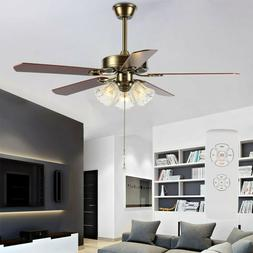 52'' Modern Ceiling Fan Light LED Dimmable Remote Control Wi