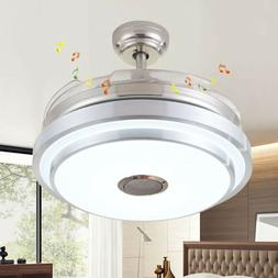 LED Remote Invisible Blades Ceiling Fan Light 3 wind speed W