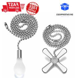 Light Bulb & Ceiling Fan Pull Chain Cord Silver Set Free Shi