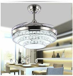 42'' Crystal Invisible Fan Ceiling Light LED Light Kit Remot