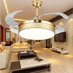 "Luxury Dimmable Gold 42"" Invisible Ceiling Fan Light LED Cha"