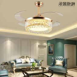 "Luxury K9 Crystal LED Chandelier 42"" Invisible Ceiling Fan L"