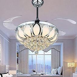 Luxury Modern Crystal Chandelier Ceiling Fan Lamp Folding Ce