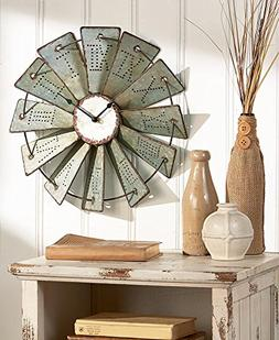 Metal Windmill Rustic Country Primitive Clock Wall Decor by